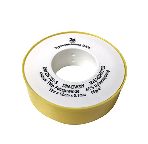 ULITH Teflonband - 12 Meter Rolle - 12 mm breit - temperaturbeständig von -240 bis +260°Grad - lebensmittelecht - druckbeständig - 1A Gewindeabdichtband auch für Gas & Chemikalien (Temperaturbeständig Abdichten)