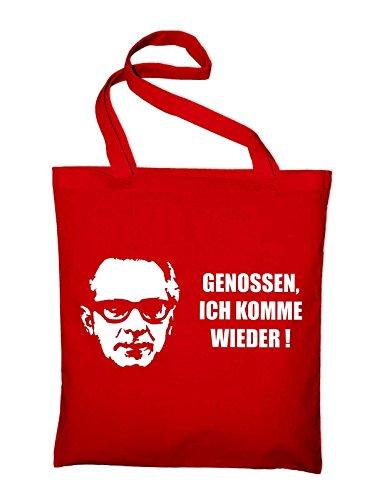 Honecker Fun Sprüche Spruch DDR Jutebeutel, Beutel, Stoffbeutel, Baumwolltasche, red