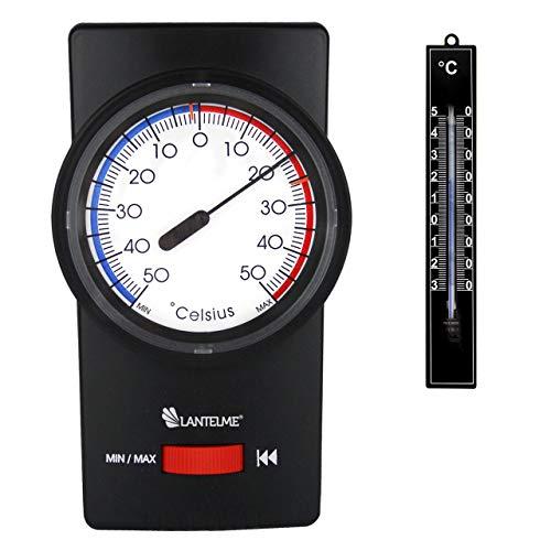 Lantelme Set Min Max Thermometer Bimetall Analog Innen Außen Gartenthermometer Farbe schwarz 7261
