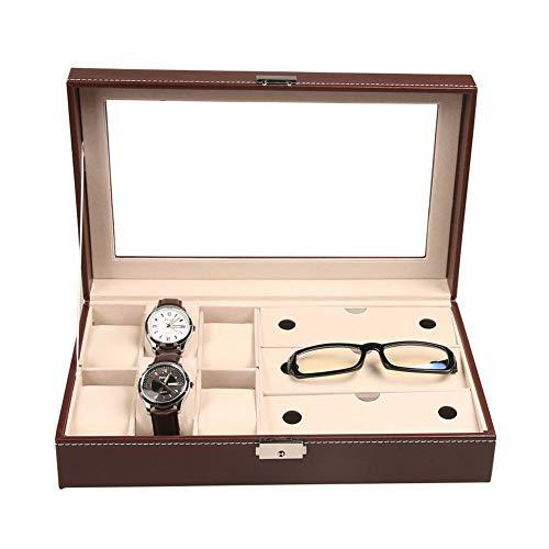 ZCY 6-Slot Uhrenbox, Leder Uhrenkasten Armbanduhr Aufbewahrungsbox, 3 Sonnenbrille Aufbewahrungs Box