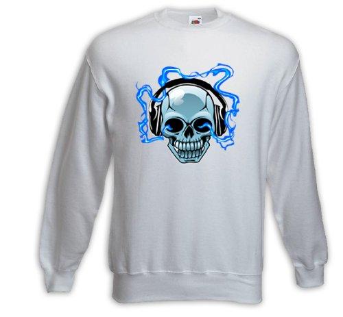 Music Pull DJ Skull blanc Gitarre croix crâne Heavy Metal Rock Blanc