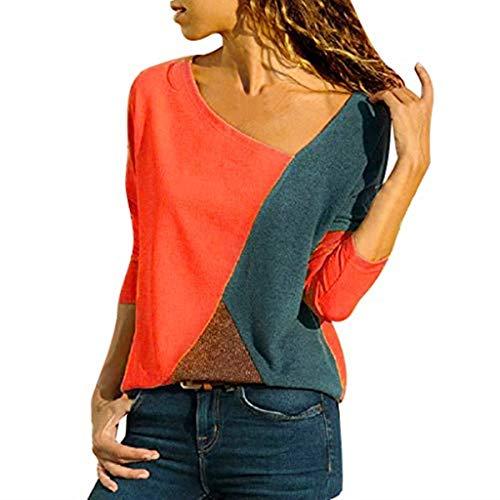 Bazhahei donna camicia,camicetta donna elegante manica lunga patchwork o-collo moda casual maglietta primavera estate top loose t-shirt pullover taglie forti (red, xs)