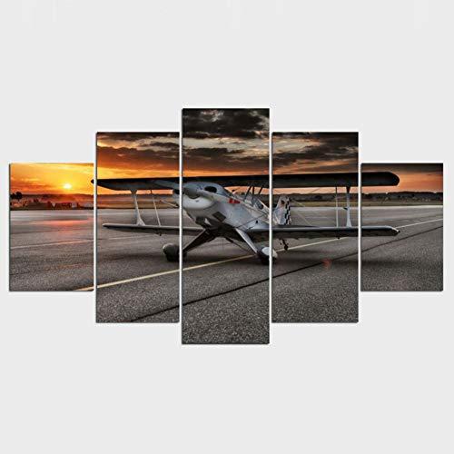 ZAINALIA Poster Hauptdekoration-Kunst-Wand-Bilder-Plakat-5 Platten-Rechteck-Teil-Kunst-Malerei-Flugzeug,Kein Rahmen 10x15 10x20 10x25cm -