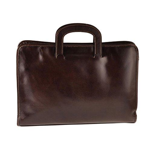 Pellevera Designer Leder 2 Abschnitt Portfolio Aktentasche. Business-Tasche (dunkelbraun) braun