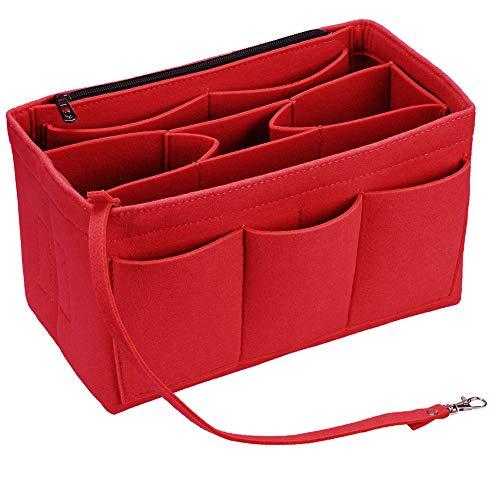 HOKEEPER Organizador de fieltro con cremallera para bolso de mano, Rojo (Rojo), Medium