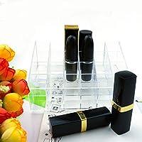 VAWAA Portable Transparent 24 Grids Makeup Storage Box for Lipstick Holder Organizer Nail Polish Display Stand