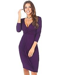 KRISP® Women Wrap Front Dress Crossover 3/4 Sleeve Stretch Winter