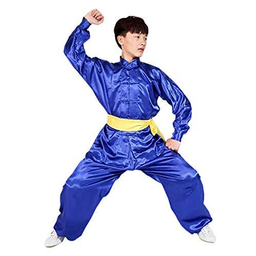 Meijunter Traditionell Chinesisch Tai Chi Wushu Kleidung - Unisex Kinder Erwachsene Kampfkunst Performance Kostüm Kung Fu (Sport Tag Kostüm Blau)