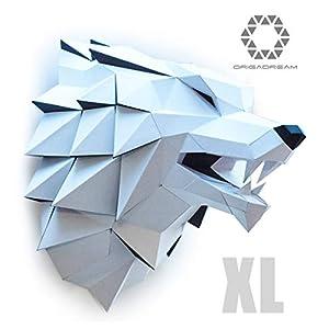 Wolf XL PAPERCRAFT Set NEUE MODERN 3D PUZZLE Papier Skulptur Game zum Zusammenbauen für die Wanddekoration of DIY Low Poly got Montage Papierskulptur thrones ORIGADREAM