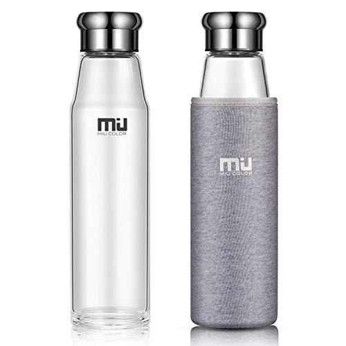 MIU COLOR® Stilvolle Tragbare 700ml Glasflasche Größere Kapazität Trinkflasche mit Nylon-Tasche für Auto (ohne Teesieb, grau)