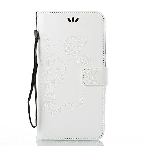 EKINHUI Case Cover Horizontale Folio Flip Stand Muster PU Leder Geldbörse Tasche Tasche mit geprägten Blumen & Lanyard & Card Slots für ZTE Z Max Pro Z981 ( Color : Black ) White