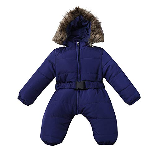 H.eternal Baby Boys Girls Snowsuit Quilted Pramsuit Faux Fur Hooded Romper Winter Jumpsuit Zipper Front Pram Coat Cotton Outfits Footless Jumpsuit Sleepsuits