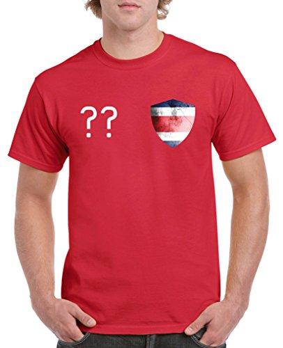 Costa Rica Kleid (Comedy Shirts - Costa Rica Trikot - Wappen: Klein - Wunsch - Herren T-Shirt - Rot / Weiss Gr. M)