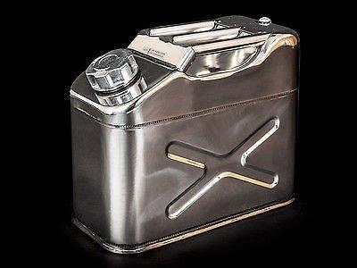 Tanica in acciaio INOX lucidato carburante benzina diesel olio acqua 10L litri Lt