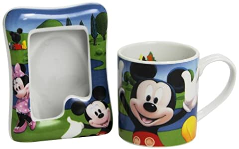 Joy Toy 770124 Mickey Ceramics Cup and Photo Frame Set in Gift Wrap - Disney World Photo