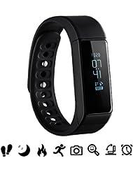 Bluetooth Fitness Tracker, Omorc Sport Armband I5 Plus SmartWatch OLED Uhr Aktivitätstracker smart bracelet mit Schlafmonitor, Schrittzähler, Kalorienzähler, SMS Anrufe Reminder für iPhone Samsung iOS und Android Smartphones – Schwarz