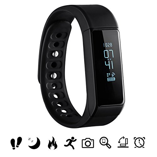 Image of Bluetooth Fitness Tracker, Omorc Sport Armband I5 Plus SmartWatch OLED Uhr Aktivitätstracker smart bracelet mit Schlafmonitor, Schrittzähler, Kalorienzähler, SMS Anrufe Reminder für iPhone Samsung iOS und Android Smartphones – Schwarz