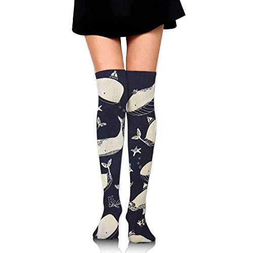 Girl Kostüm Invisible - Gped Kniestrümpfe,Socken,Sea Whales Cloth Pattern Leisure Crew Top Socks,Tube Over Knee Nursing Compression Long Socks,3D Printed Sports for Girls&Women 50 cm