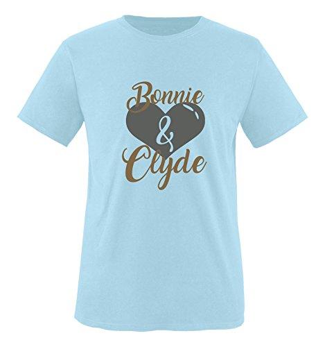Comedy Shirts - Bonnie & Clyde - Herz Motiv - Herren T-Shirt - Royalblau/Hellbraun-Grau Gr. XXL