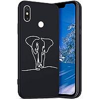 Robinsoni Funda Compatible con Xiaomi 8 SE Funda Carcasa Silicona Suave Funda TPU Gel Caja Gel Goma Funda Sencillo Negro Cover Flexible Original Funda Estilo Retro Caja Parachoques Funda Elefante