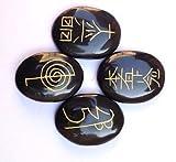 Exclusivo Usui Reiki símbolo tallada negro ágata cuatro piedras Bienestar regalo cristal curación metafísica potente energía psíquica Meditación Wicca de la salud