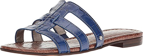 Sam Edelman Berit Cuir Chaussure Plate Nautical Blue Suraze Shiny Croco Leather