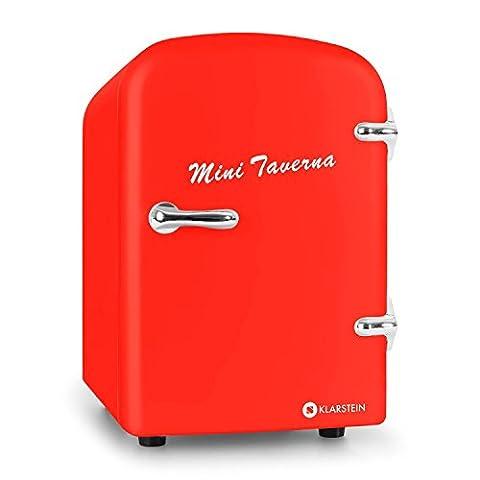 Klarstein • Mini Taverna • Mini-Kühlschrank • Kühl- und Warmhaltebox • 4 Liter • 42 Watt • 12 Volt Kabel • 50er Jahre Design • Tragegriff • herausnehmbarer Einschub • sicherer Türverschluss • Lüfter • Standfüße • leise • leicht zu reinigen • ca. 2,0 kg • rot