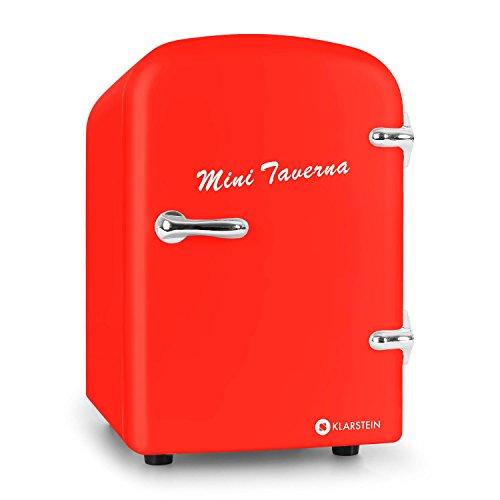 Klarstein Mini Taverna - Mini-Kühlschrank, Kühl- und Warmhaltebox, 4 Liter, 42 Watt, 12 Volt Kabel, 50er Jahre Design, Tragegriff, Lüfter, Standfüße, leise, 2,0 kg, rot