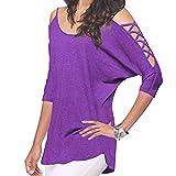 Damen Blusen Frauen Sexy Schulterfrei Pullover T-Shirt Beiläufig Shirts Ausgehöhlten Halbe Hülsen Oberseiten,ABsoar