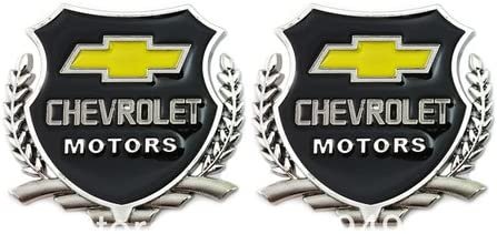 2pc Chevrolet Motors SILVER Car 3D Metal Grille Trunk Badge Decal Logo
