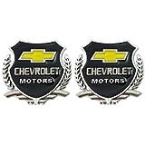 #9: 2pc Chevrolet Motors SILVER Car 3D Metal Grille Trunk Badge Decal Logo