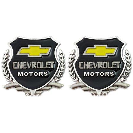Automaze Chevrolet Motors SILVER Car 3D Metal Grille Trunk Badge Decal Logo - 2 Pieces