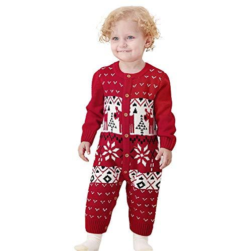 Togelei Baby-Weihnachten siamesische Strickwaren-Säuglingsbaby-lange Hülsen-Karikatur-Weihnachtsstrickspielanzug-Overall-Kleidung UnisexO-Ansatz Charakter-Art und Schnallenelch Weise Strickjacke