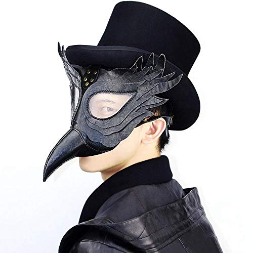 KOBWA Steampunk Pest Arztmaske Gothic PU Leder Lange Nase Vogel Schnabel Retro Kostüm Requisiten Halloween Cosplay Maskerade Ganzgesichtsmaske Schwarz