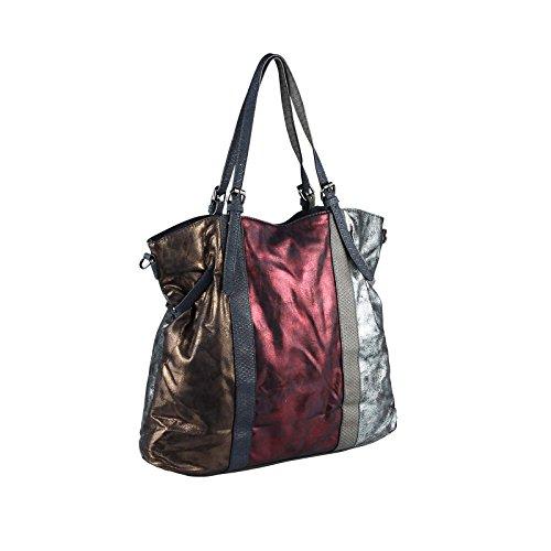 OBC Only-Beautiful-Couture, Borsa tote donna argento bronzo XL-XXL Silber Dunkelblau/Navy