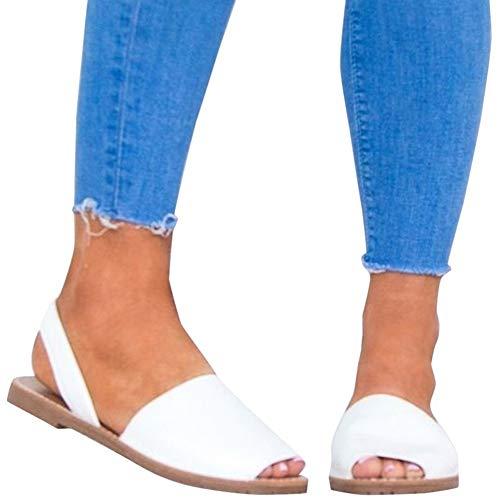 Sandalen Damen Sommer Sandaletten Flachen Frauen Knöchelriemchen Espadrille Plateau Flip Flop Sommersandalen Bequeme Elegante Schuhe Schwarz Weiß Rosa Gr.34-44 WH35