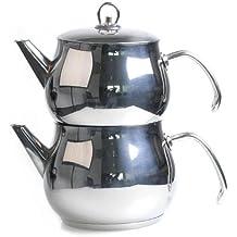 Türkischer Teekocher Caydanlik mit Cagla Teekanne aus Edelstahl in 3 Größen, Größe:1.75 L, Ausführung:Metallgriffe