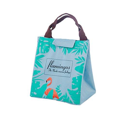 Cute Flamingo porta pranzo riutilizzabile Bento Tote borsa termica per il pranzo con chiusura in velcro per picnic lavoro scuola, Tessuto Oxford, Black, taglia unica Green