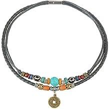 dc60994c6be6 Antiguo de la mujer de la Tribu de cáñamo Piel Auténtica Turquesa Collar De  Gargantilla De