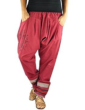 virblatt pantalones cagados en estilo harem de entrepierna baja para hombres y mujeres con tatuaje espiritual...