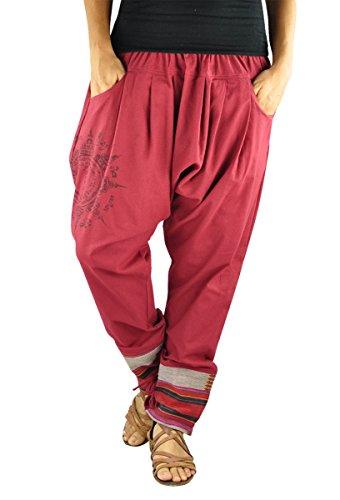 virblatt – Haremshose Damen und Herren alternative Kleidung - Paed Tidt Yant rot (Alternative Kleidung)