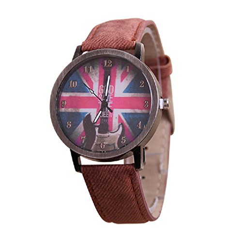 Unisex Armbanduhr England British Flagge God save the queen E-Gitarre Hipster Blogger Vintage Analog Quarz silber / braun lw1803