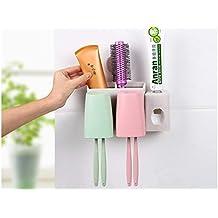 HomeYoo Dispensador automático de Pasta de Dientes y Conjunto de portacepillos de Dientes, Tallo de