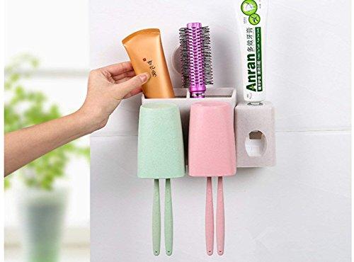 Dispensador automático de pasta de dientes y conjunto de portacepillos de dientes, HomeYoo Tallo de trigo Soporte de pared Exprimidor de aerosol Enjuague Copas Cepillo de dientes Tragamonedas (2 Tazas)