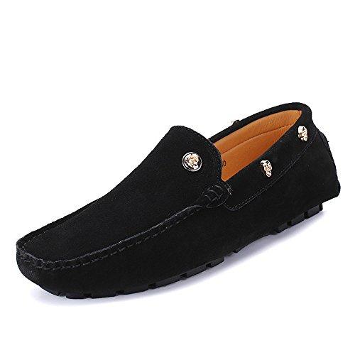 Bequem Herren Penny Loafers echtes Leder Fahren Mokassins weiche Sohle Schädel Dekor Langlebig (Color : Schwarz, Größe : 41 EU) -