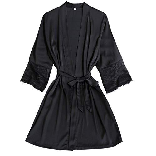 Nachtwäsche Damen Morgenmantel Kimono Robe Satin Kurze Bademantel Mit Spitze Für Frauen Kurz V Ausschnitt Roben mit Gürtel Sexy Nachthemd für Braut Aus Satin-Seide Kimono-Robe Brautjungfern-Robe