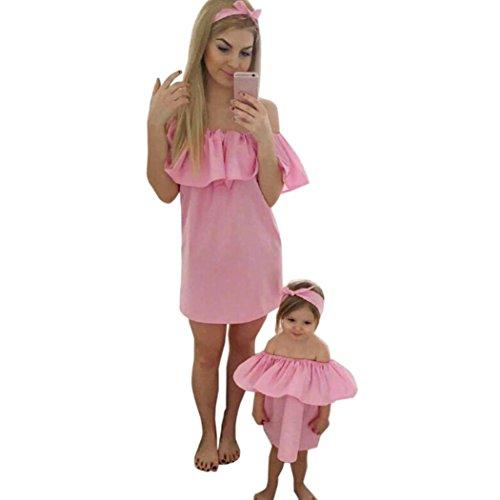 zahuihuiM Sommer Mama und Baby Mädchen niedlich und schön aus Schulter Kleid Kleidung ! (Rosa, Mädchen :70)
