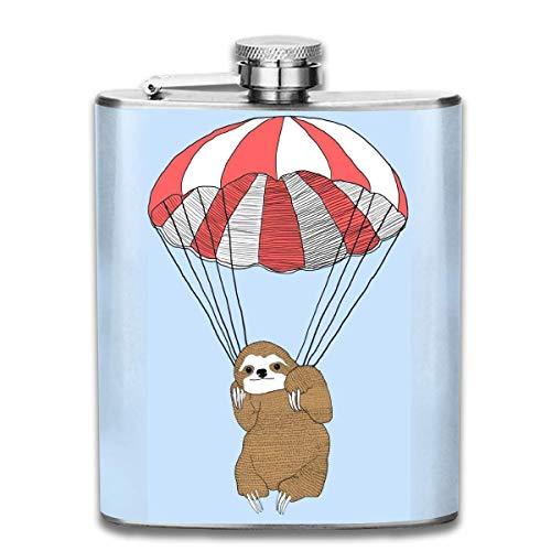 7 oz edelstahl flask fallschirm sloth fashion tragbare edelstahl flachmann whisky flasche für männer und frauen 7 oz