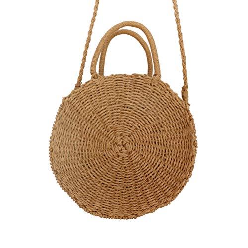 ZIHUINI Paket Handtasche für Frauen Sommer Strand Tote handgemachte Rattan gewebt Runde Umhängetaschen Vintage Stroh gestrickte Tasche -