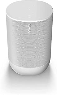 Sonos Move, White - The durable, battery-powered smart speaker for outdoor and indoor listening.
